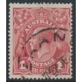 AUSTRALIA - 1918 1d brown-red KGV Head (shade = G32), die II, used – ACSC # 71W(1)i