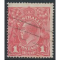 AUSTRALIA - 1917 1d red-salmon eosin KGV Head (shade = G27A), used – ACSC # 71SA