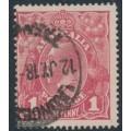 AUSTRALIA - 1918 1d carmine-rose KGV Head (G30), 'PENAVY', used – ACSC # 71V(2)d