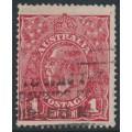 AUSTRALIA - 1918 1d carmine-red KGV Head (G73), 'four breaks across top', used – ACSC # 72P(2)f