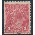 AUSTRALIA - 1915 1d reddish pink KGV Head (G15), 'line under RVT', used – ACSC # 71F(2)g