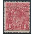 AUSTRALIA - 1918 1d carmine-red KGV Head (G73), 'flaw on frame behind Emu', used – ACSC # 72P(2)n