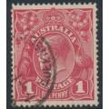 AUSTRALIA - 1917 1d rose-carmine KGV Head (G22), 'notch in left frame', used – ACSC # 71L(3)d