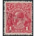 AUSTRALIA - 1914 1d carmine-red KGV Head (G10), 'notch in upper left frame', used – ACSC # 71A(3)e