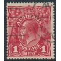 AUSTRALIA - 1914 1d carmine-red KGV Head (G10), 'dot before 1', used – ACSC # 71A(3)m