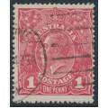 AUSTRALIA - 1917 1d rose-red [aniline] KGV Head (G63), 'thin left frame', used – ACSC # 72D(3)n