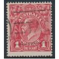 AUSTRALIA - 1914 1d carmine-red KGV Head (G10), 'notch in NW corner', used – ACSC # 71A(3)p