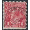 AUSTRALIA - 1915 1d scarlet-red KGV Head (G17), 'notch in NW corner', used – ACSC # 71G(3)p