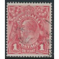 AUSTRALIA - 1917 1d rose KGV Head (G21), 'secret mark', used – ACSC # 71K(4)d