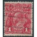 AUSTRALIA - 1914 1d carmine-red KGV Head (G10), 'secret mark', used – ACSC # 71A(4)d