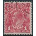 AUSTRALIA - 1915 1d scarlet-red KGV Head (G17), 'secret mark', used – ACSC # 71G(4)d