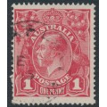 AUSTRALIA - 1915 1d scarlet-red KGV Head (G17), 'scratch frame to crown', used – ACSC # 71G(4)e