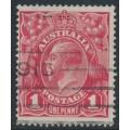 AUSTRALIA - 1915 1d scarlet-red KGV Head (shade = G17), 'Ferns', used – ACSC # 71G(4)ia