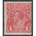 AUSTRALIA - 1914 1d salmon-red (aniline) KGV Head (shade = G12), MH – ACSC # 71C
