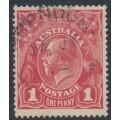 AUSTRALIA - 1914 1d bright red [aniline] KGV Head (shade = G11), die II, used – ACSC # 71B(1)i