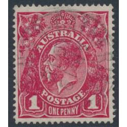 AUSTRALIA - 1918 1d deep rosine KGV Head (shade = G70), used – ACSC # 72J