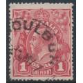 AUSTRALIA - 1917 1d brownish rose KGV Head, (shade = G23½), used – ACSC # 71M