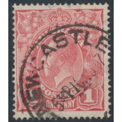 AUSTRALIA - 1917 1d reddish salmon KGV Head (shade = G26), inverted watermark, used – ACSC # 71Ra