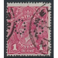 AUSTRALIA - 1918 1d lilac-rose KGV Head (shade = G70½), perforated OS, used – ACSC # 72KAbb