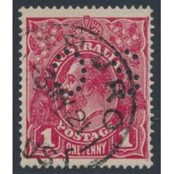 AUSTRALIA - 1918 1d deep plum KGV Head (shade = G71), perf. OS, used – ACSC # 72Lbb