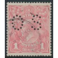AUSTRALIA - 1917 1d pale rose-salmon eosin KGV Head (shade = G27A), perf. OS, used – ACSC # 71SAbb