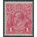 AUSTRALIA - 1918 1d carmine-pink (LM watermark) KGV (shade = G101), MNH – ACSC # 73A