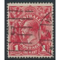 AUSTRALIA - 1914 1d deep red KGV Head, die II, single-line perforated (G2), used – ACSC # 70B(1)i
