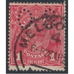 AUSTRALIA - 1918 1d cerise KGV Head (shade = G67), perf. OS, used – ACSC # 72Hbb
