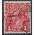 AUSTRALIA - 1917 1d orange-red KGV Head (shade = G24½), used – ACSC # 71P