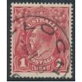 AUSTRALIA - 1918 1d brown-red KGV Head (shade = G32), used – ACSC # 71W