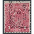 AUSTRALIA - 1917 1d pinkish carmine (aniline) KGV Head (shade = G62½), used – ACSC # 72C