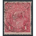 AUSTRALIA - 1917 1d orange-red KGV Head (shade = G65), used – ACSC # 72F