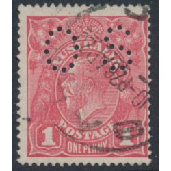 AUSTRALIA - 1918 1d rose-pink KGV Head (shade = G67), die II, perforated OS, used – ACSC # 72H(1)ib