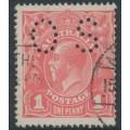 AUSTRALIA - 1917 1d deep pink-salmon eosin KGV Head (G27A), perf. OS, used – ACSC # 71SAbb