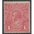 AUSTRALIA - 1918 1d pink KGV Head (shade = G66), MNG – ACSC # 72G