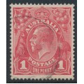 AUSTRALIA - 1914 1d salmon-red [aniline] KGV Head (shade = G12), die II, used – ACSC # 71C(1)i