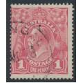 AUSTRALIA - 1918 1d pink KGV Head (shade = G28), inverted watermark, used – ACSC # 71Ta