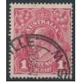 AUSTRALIA - 1918 1d carmine-pink KGV Head (shade = G29), used – ACSC # 71U