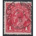 AUSTRALIA - 1914 1d carmine-red [aniline] KGV Head (shade = G10), used – ACSC # 71A