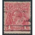 AUSTRALIA - 1914 1d salmon-red [aniline] KGV (G12), die II + inverted watermark, used – ACSC # 71C(1)i+a