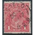 AUSTRALIA - 1917 1d brownish rose KGV Head (shade = G64), used – ACSC # 72E
