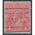 AUSTRALIA - 1917 1d deep rose-salmon eosin KGV Head (shade = G27A), used – ACSC # 71SA