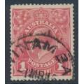 AUSTRALIA - 1914 1d bright red [aniline] KGV Head (G11), inverted watermark, used – ACSC # 71Ba