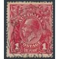 AUSTRALIA - 1917 1d orange-red (aniline) KGV Head (G24½), inverted watermark, used – ACSC # 71Pa