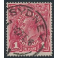 AUSTRALIA - 1918 1d red-rosine KGV Head (shade = G68), used – ACSC # 72I