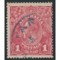 AUSTRALIA - 1918 1d pale red-rosine KGV Head (G68), inverted watermark, used – ACSC # 72Ia