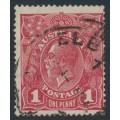 AUSTRALIA - 1918 1d brownish red KGV (G75), die II, watermark inverted, used – ACSC # 72N(1)i + a