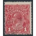 AUSTRALIA - 1918 1d red-brown KGV Head (shade = G76), used – ACSC # 72O