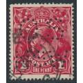 AUSTRALIA - 1919 1d deep bright red [aniline] KGV, LM wmk, (G108), perf. OS, used – ACSC # 74Eb
