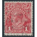 AUSTRALIA - 1918 1d brownish red KGV Head, die III, (shade = G112), used – ACSC # 75D